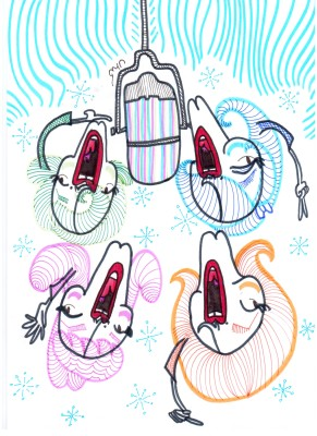 4 cartoon heads singing around a hanging microphone.