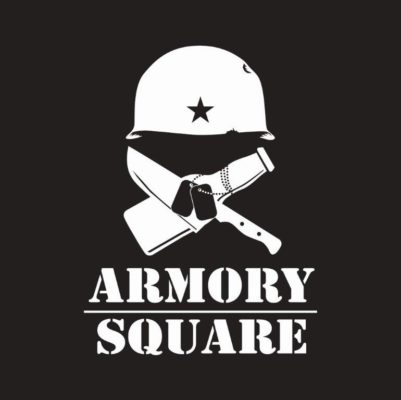 Armory Square logo: military helmet, with chef knife and beer bottle crossed underneath