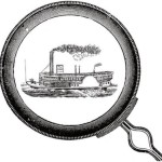 Riverboat inside magnifying glass