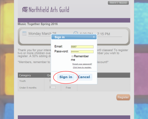 Sign-in button circled